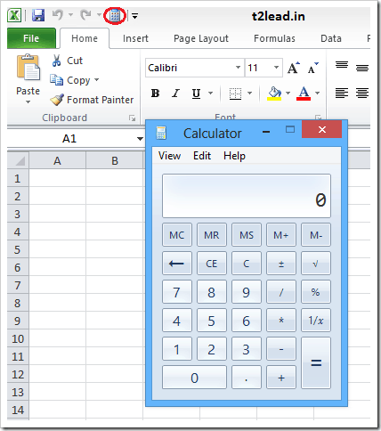 How To Add Calculator to Excel Quick Access Toolbar (1)