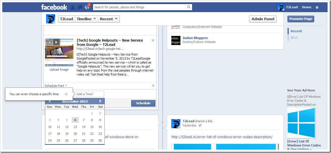 [How To] Schedule Date & Time for Posts in Facebook Pages (1)