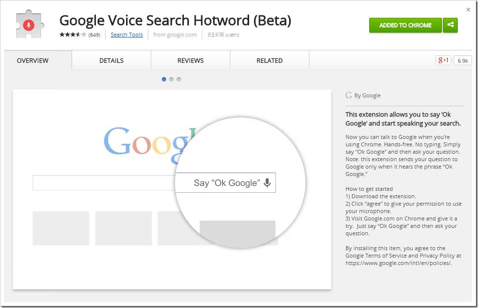 OK Google Extension for Chrome Browser (2)