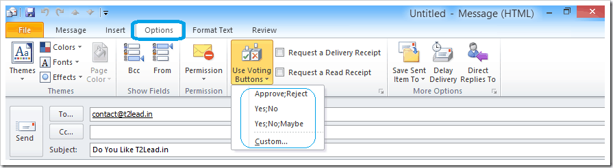 How To Send Mail with Voting Response in Outlook 2010 (3)