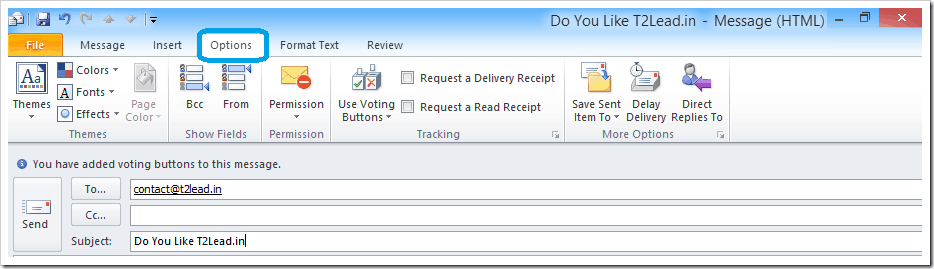 How To Send Mail with Voting Response in Outlook 2010 (4)