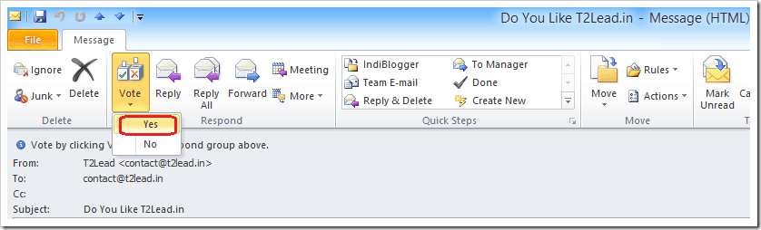 How To Send Mail with Voting Response in Outlook 2010 (6)