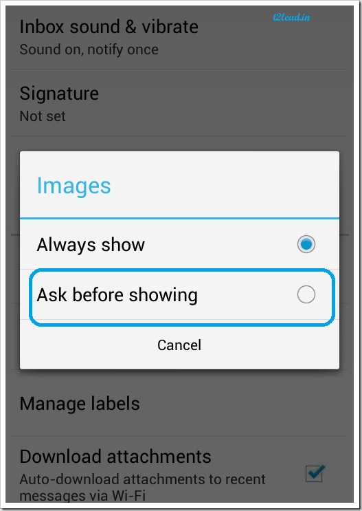 170.How To Prevent Images Showing Automatically in Gmail for Android (2)