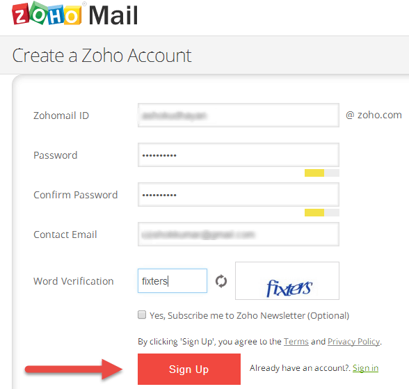 How To Create Personal Mail Account in Zoho (2)