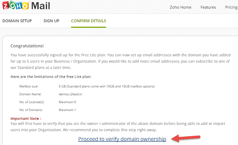 Zoho Mail for custom Domain (3)