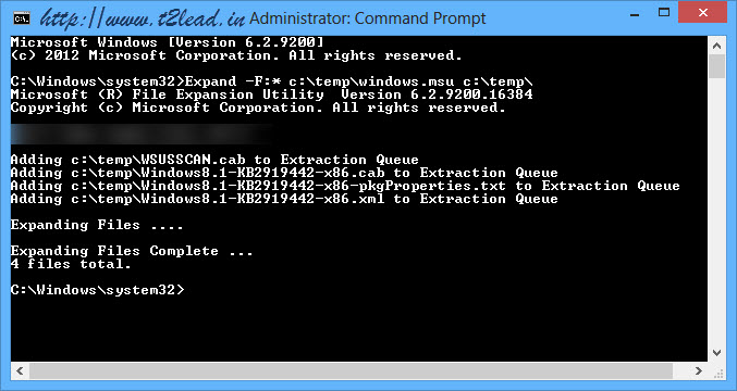 How To Extract .msu files using Command Prompt (3)