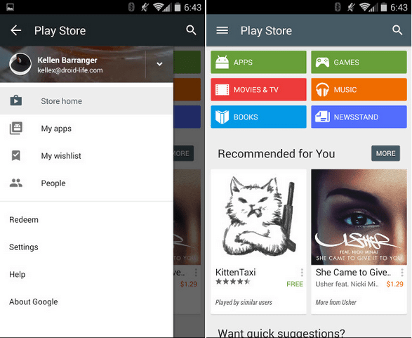 play store with material design