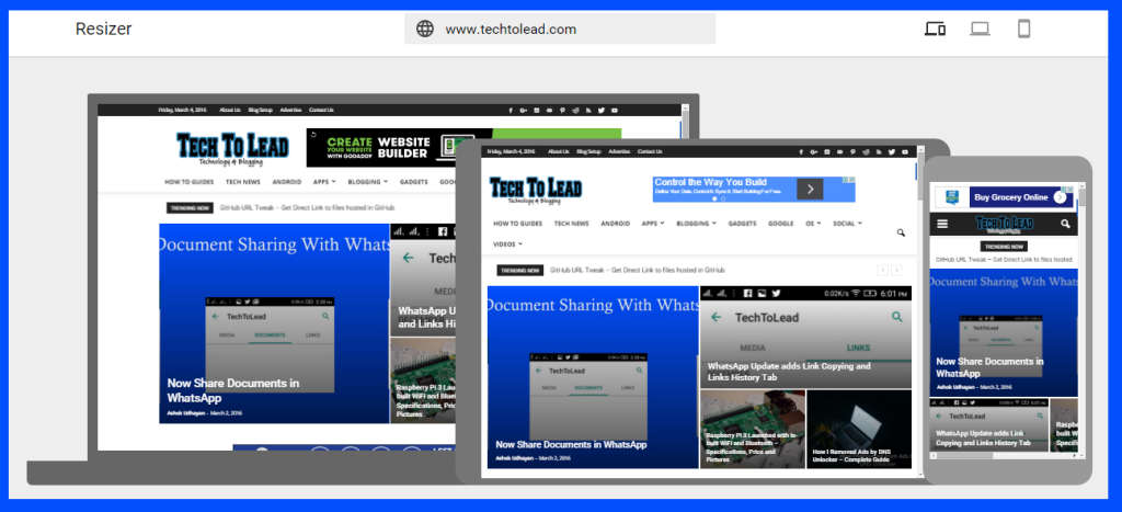 TechToLead.com HomePage on Google Resizer Tool