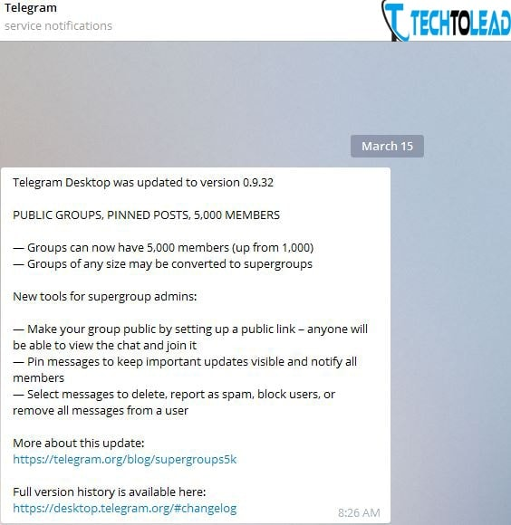 Telegram update with SuperGroups