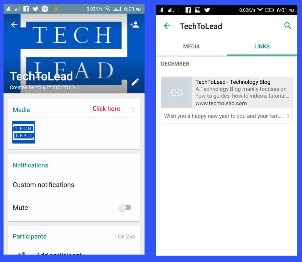 WhatsApp Links Tab