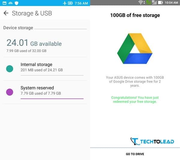 Asus Zenfone Max 2016 - Storage