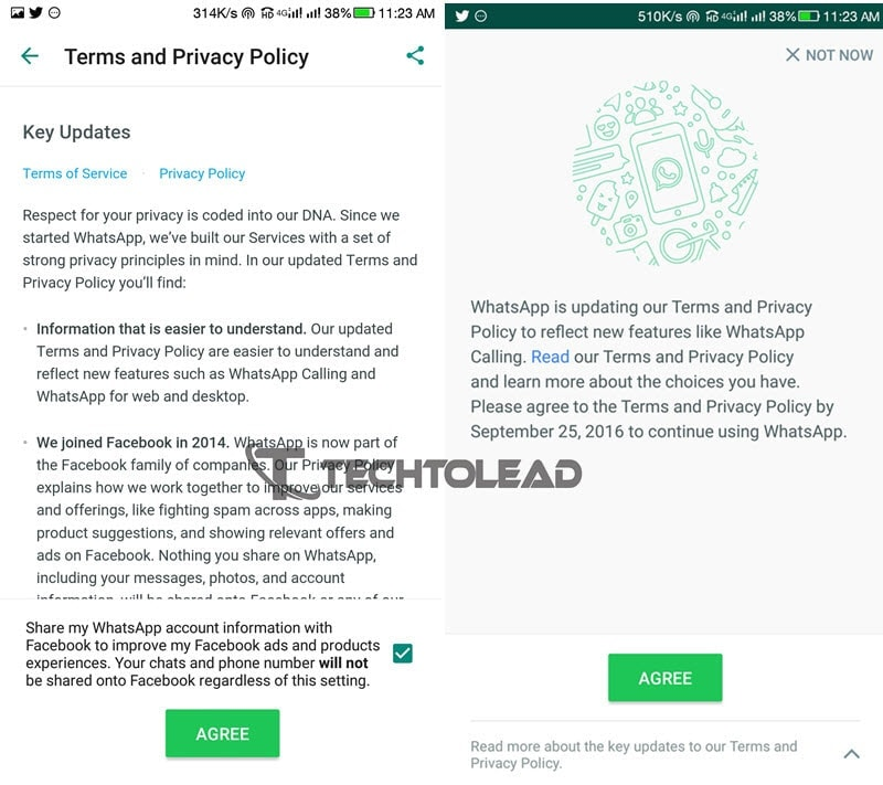 WhatsApp's Updated Terms include sharing user data to Facebook