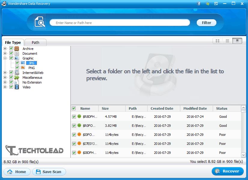 Wondershare Data Recovery Files