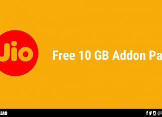 Jio 10GB Free Addon Pack