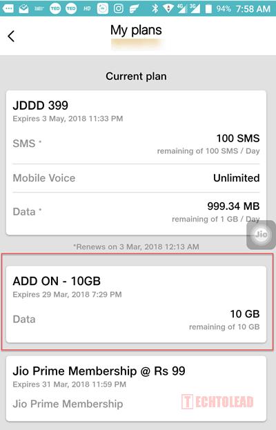 Jio 10GB Free Addon