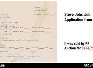 Steve Jobs' Job Application From 1973