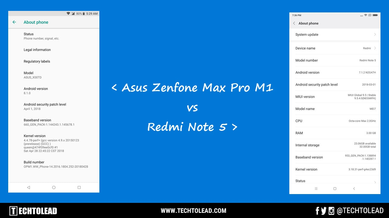 About Phone Asus Zenfone Max Pro M1 Vs Redmi Note 5